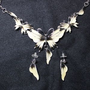 Acrylic Butterfly Necklace and Earrings